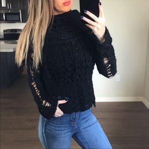 Free people black distressed fringe sweater XS